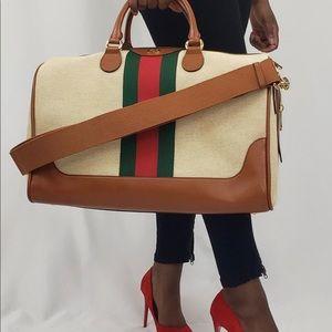 Gucci XL Travel Boston Bag w keys,lock strap,tag